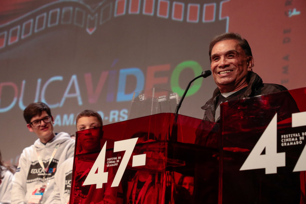 Gramado, RS - 15/08/2019 - 47º Festival de Cinema de Gramado - Mostra Educavídeo - Ator Dedé Santana -